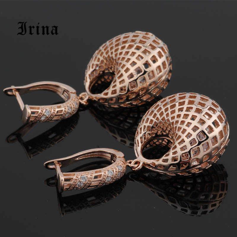 Irina xu hướng Thời Trang mới phóng đại không thường xuyên rỗng-out rose bông tai zircon vàng cá tính cô gái đồ trang sức bên