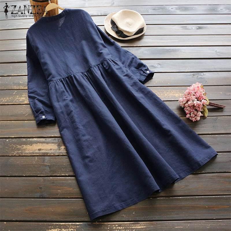 2019 Plus Size ZANZEA Spring Women Casual Long Sleeve Vintage Embroidery Cotton Linen Loose Party Long Shirt Dress Vestidos 5