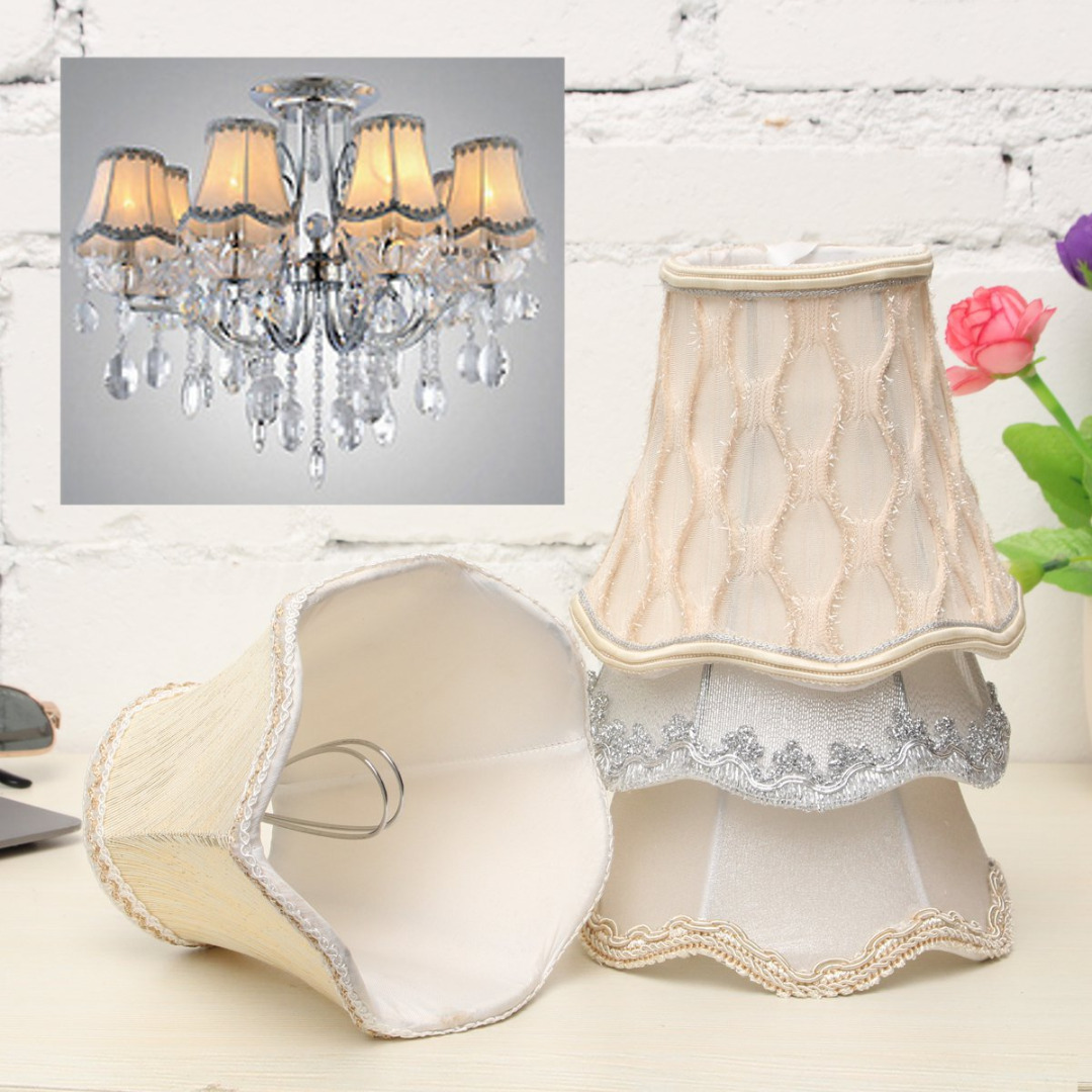 2019 Newest Vintage Small Lace Lampshades Textured Fabric Chandelier Light Ceiling Cover