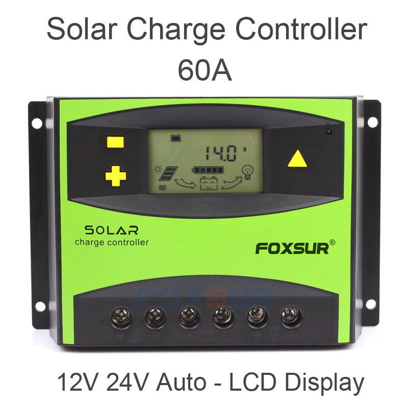 Foxsur Pv Solar Charge Controller 50a 60a Pwm 12v 24v Auto Solar Panel Charging Discharge Regulator With Large Power Heat Sink