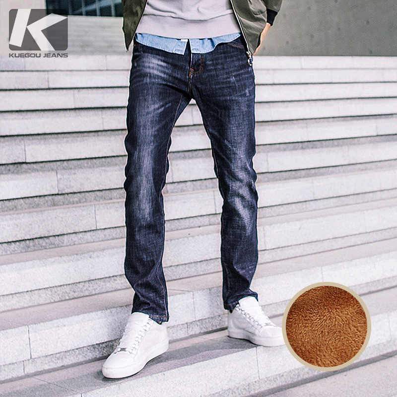 Winter Mens Denim Pants Thick Fleece Patchwork Blue Color Pockets For Man Slim Straight Jeans New Male Long Brand Trousers 2356