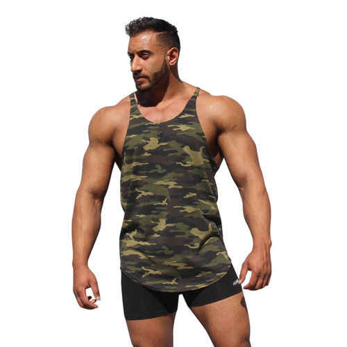 7cb69eae31c4b Men s Stringer Bodybuilding Fitness Muscle Workout Camo Tank Top Singlet  Shirt UK