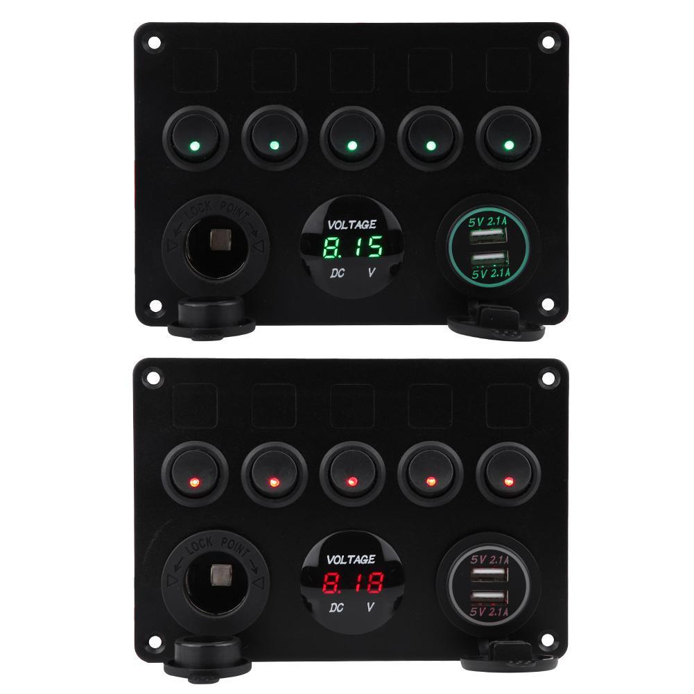12V 24V 5 Gang LED Rocker Switch Panel Dual USB Car Charger Boat Caravan
