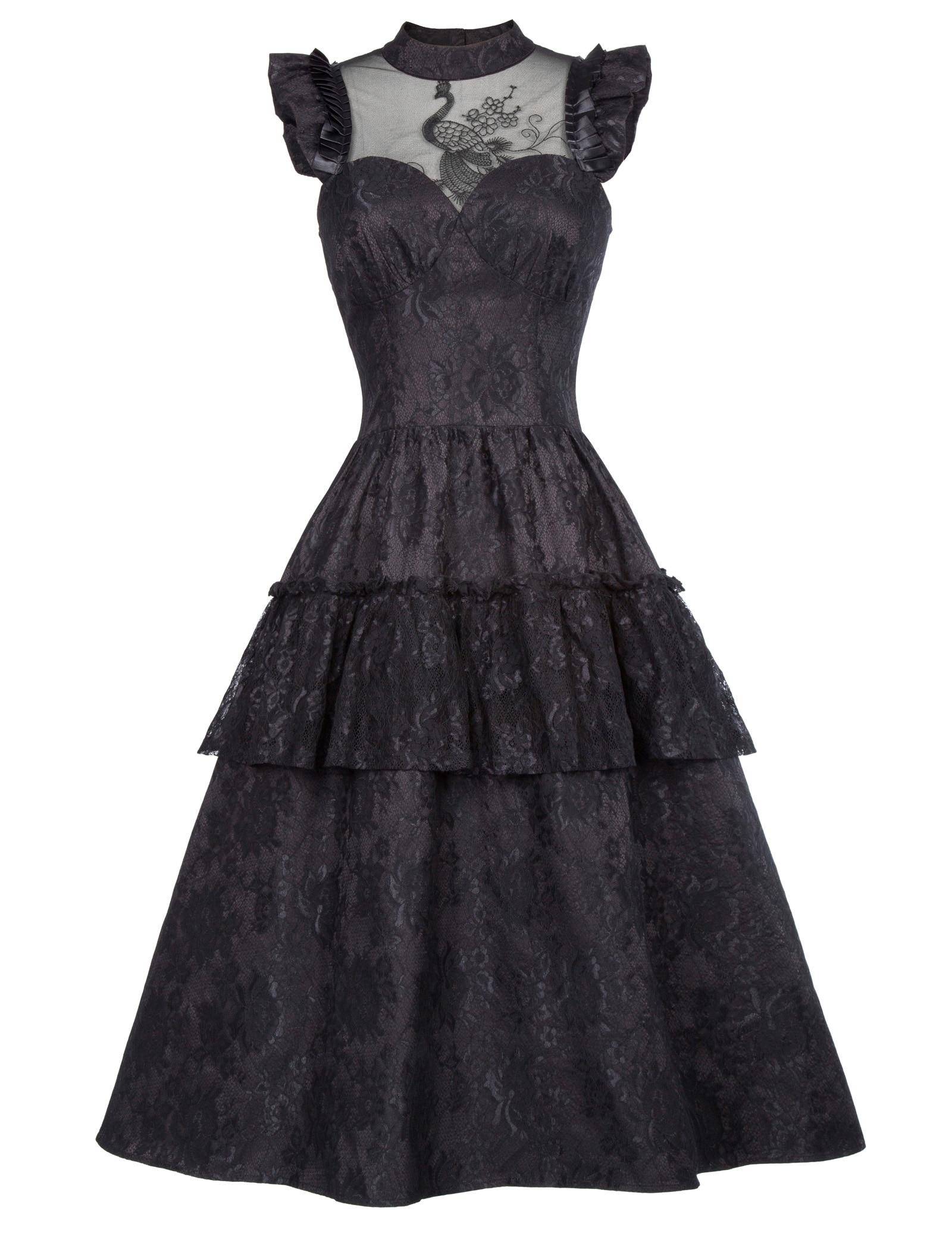 Bp rétro Vintage robe Cap manches col haut transparent corsage dentelle balançoire robe noir