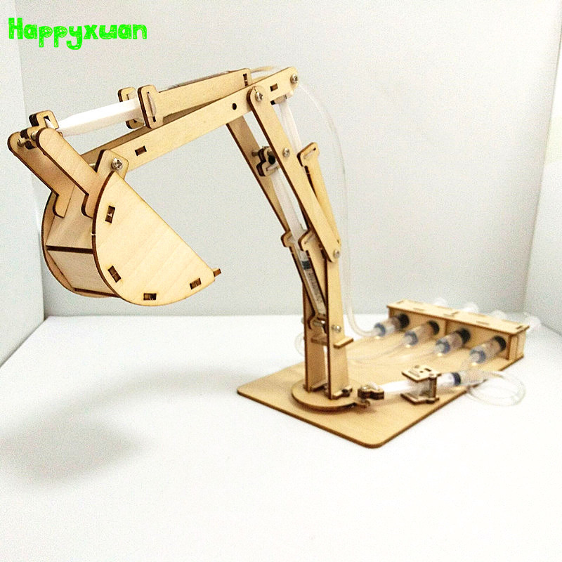 Happyxuan DIY 4 Channel Hydraulic Excavator Building Model Kit Kids Science  Experiment STEM Education Physics Toys Technology
