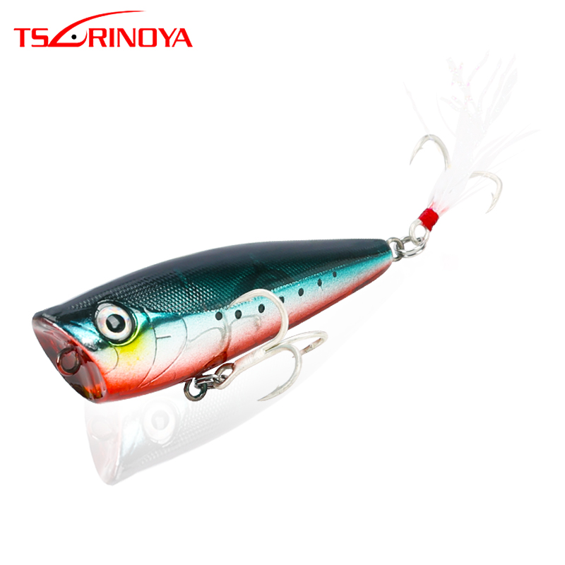 TSURINOYA Fishing Lure DW20 Topwater POPPER Hard Lure With Feather Treble Hooks 60mm 7.0g Artificial Pencil Woblers Crankbait image