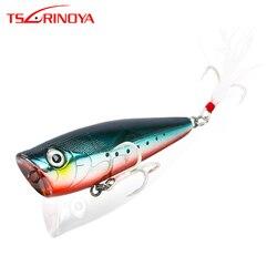 TSURINOYA przynęta wędkarska DW20 Topwater POPPER twarda przynęta z piórami kotwiczki 60mm 7.0g sztuczne ołówki woblery Crankbait Przynęty Sport i rozrywka -