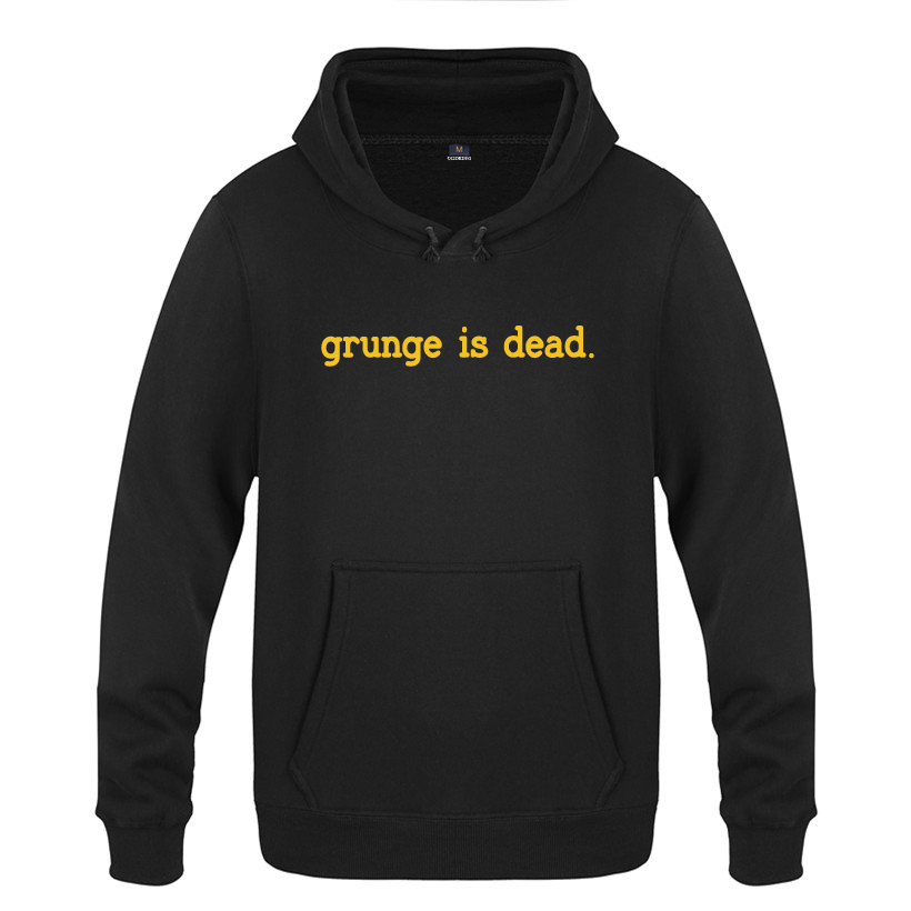 Grunge Is Dead Kurt Cobain Nirvana 90s Rock Sweatshirts Men 2018 Mens Hooded Fleece Pullover Hoodies