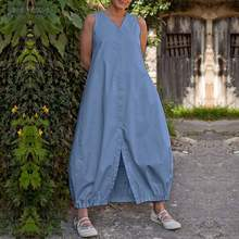 2019 ZANZEA Dress Women Sleeveless Kaftan Sarafans Sundress Summer Long Vest Vestidos Casual Loose Elastic Hem Robe 5XL
