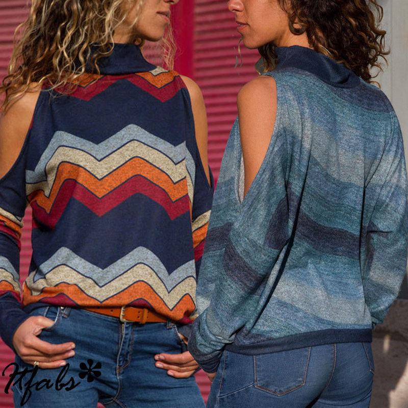 Camisa Mujer Marino Algodón Cuello naranja Blusa Pulóver Rayas Larga Otoño Cálido Azul Tortuga Mujeres Manga Casual Moda Causal azul Suelta 6tqwq