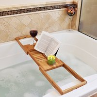 Adjustable Bathroom Shelves Bathroom Bath Tub Books Phone Wine Cup Rack Shower Tray Holder Home Stand Sundries Organizer