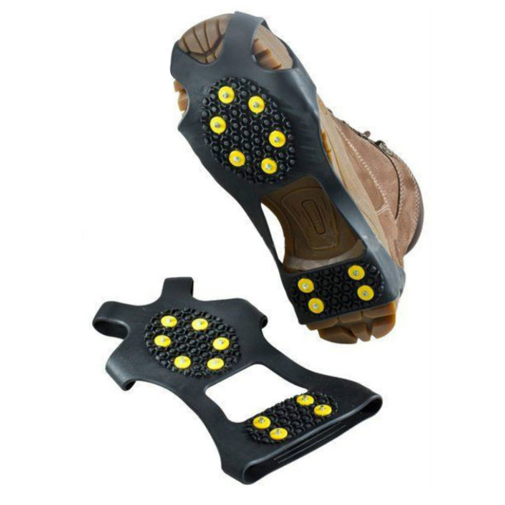 1 Pair Shoe Spikes 10 Stud Universal Ice Non Slip Snow Grip Cleats Crampons Anti Sneaker Accessories Winter Climbing Safety Tool