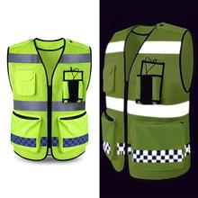 Hi-Vis Safety Vest Reflective Jacket Security vest Warning Coat Reflect Stripes Tops Jacket Outdoor Night Riding Running цена