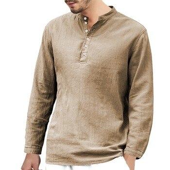 7fd018e4f Camiseta Casual hombres Henley camisas de manga larga de lino militar ropa  de algodón ropa de ...