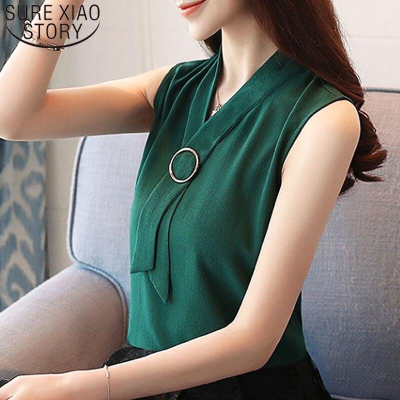 aa4d01dca Verano mujeres tops y blusa 2019 sin mangas elegante gasa sólida moda  señoras Top chaleco coreano mujer ropa camisa 0234 40