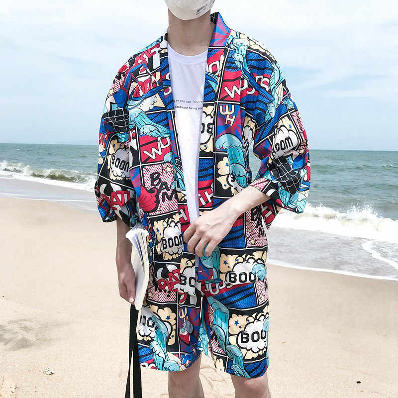 Summer Beach Men's Casual Clothing Set Harajuku Comic Printed Kimono Style Shirt + Elastic Shorts Vacation Two Piece Tracksuit