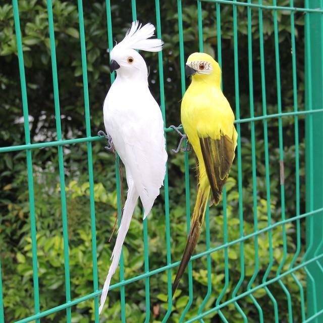 25cm Handmade Yellow Parrot Animal Bird Lawn Figurine Ornament Yard Decor  Green Planting And Gardening Decoration