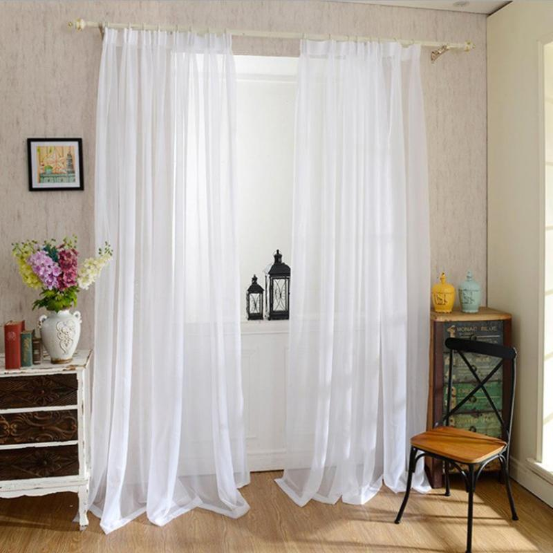 1pcs Europe Solid White Yarn Curtain Window Tulle Curtains for Living Room Kitchen Modern Window Treatments Voile Curtain E5M1