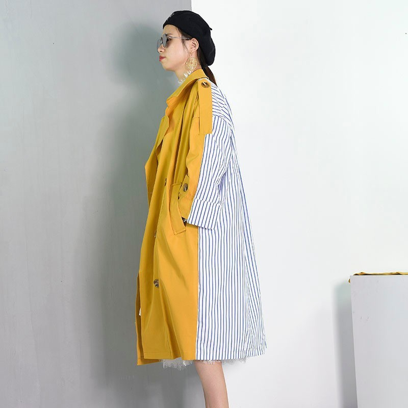 Patchwork vent Vêtements Mode Coupe eam Bd De Nouvelle Turn Jupettes Raie Section Yellow Manteau 2019 down Rayé Retour Personnalité Col Longue qAwwvnX4