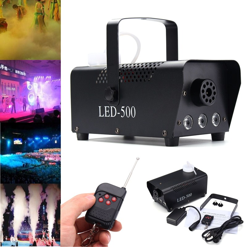 AC 110V-230V Wireless Control LED 500W Fog Smoke Machine Remote RGB Color Smoke Ejector LED DJ Party  Light Smoke Thrower