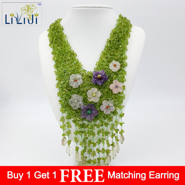 LiiJi Unique Natural Stone Peridots,Amethysts ,Quartzs Flowers with Stone Toggle Clasp Handmade Necklace 20''