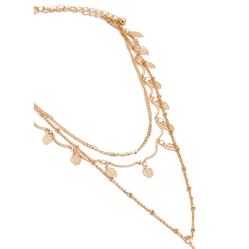 Simple Leaves Tassel Necklace Metal Beaded Pendants Necklaces for Women 2018 Fashion Jewelry Ladies Layered Necklace Accessories