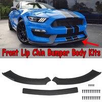 Новый 3 шт. Черный Автомобильный передний бампер для губ подбородок спойлер разветвители диффузор наборы тела протектор для Ford для Mustang 2015 ...