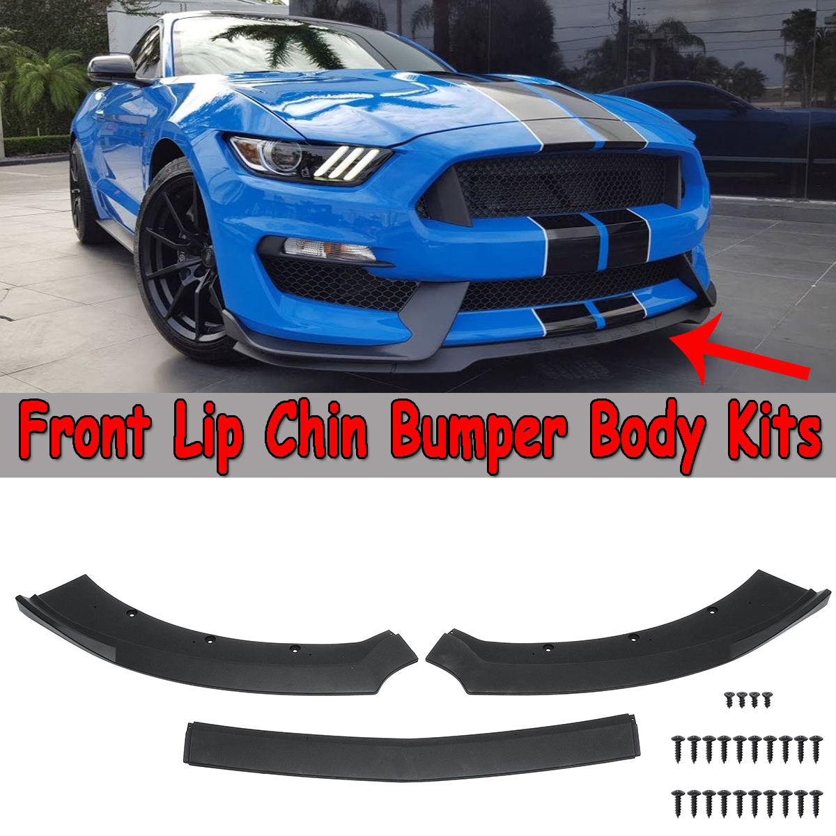 New 3 Pcs Black Car Front Bumper Lip Chin Spoiler Splitters Diffuser Body Kits Protector For Ford For Mustang 2015 2016 2017
