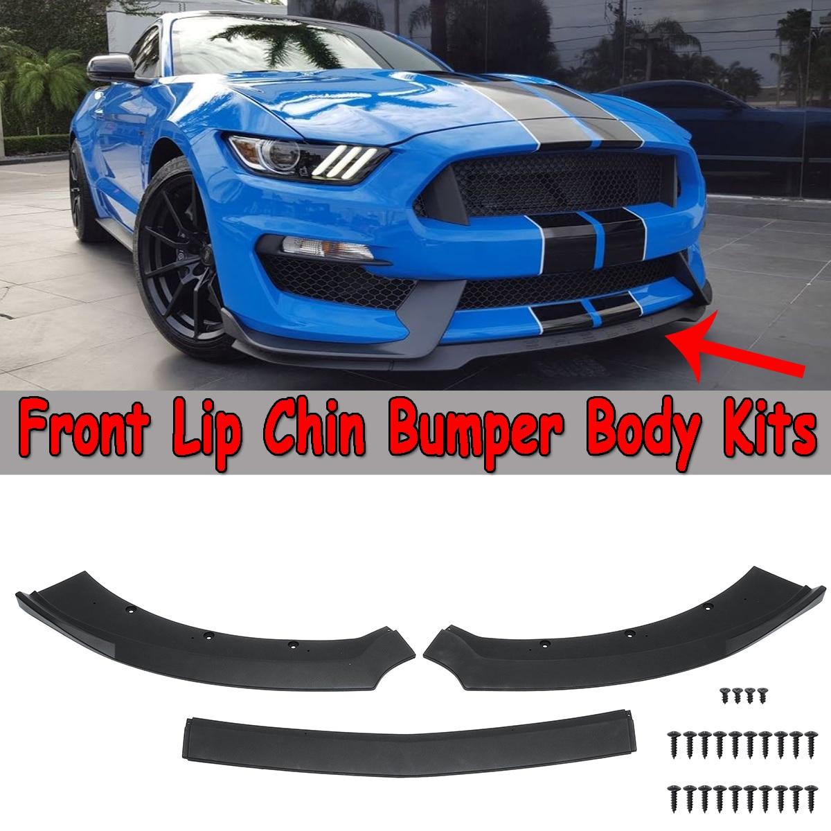 Nova 3 Pcs Preto Frente Car Bumper Lip Spoiler Divisores Difusor Kits Corpo Protetor Para Ford Mustang 2015 2016 2017