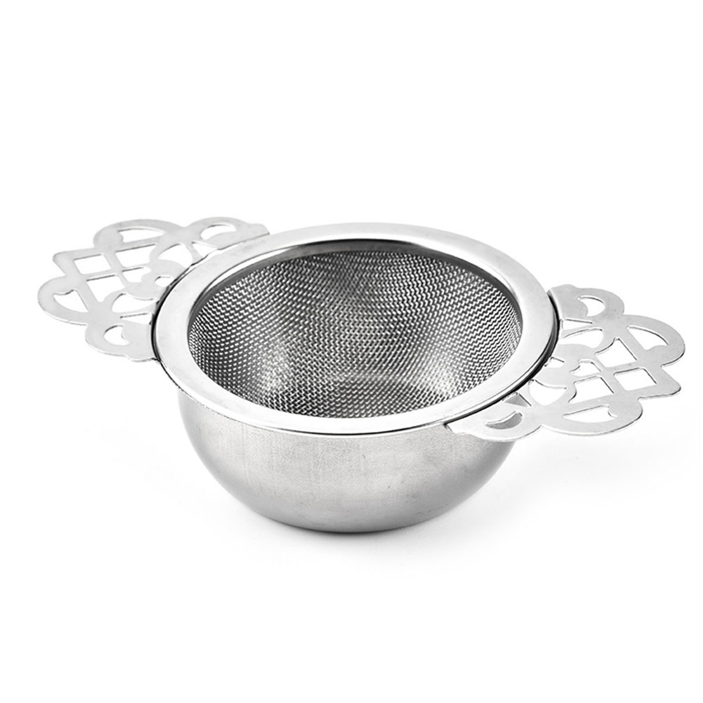 Spice Stainless Steel Tea Strainer With Drip Bowl Easy Clean Loose Leaf Traditional Hanging Herbal Double Ear Infuser Filter