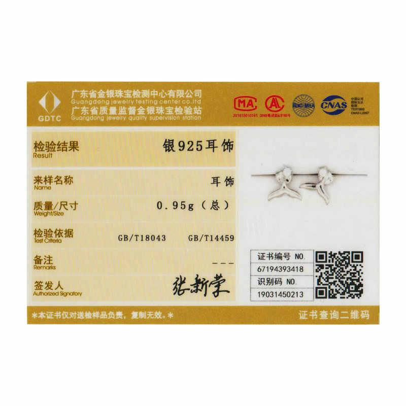 BAMOER Hot Bán 100% 925 Sterling Bạc Nàng Tiên Cá Đuôi Cá Bông Tai Stud Nhỏ cho Phụ Nữ Sterling Bạc Trang Sức Quà Tặng BSE059
