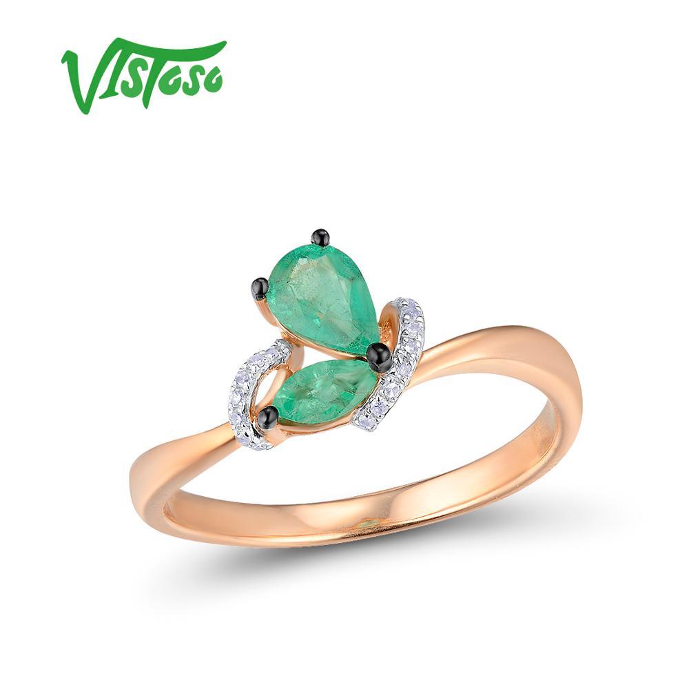 VISTOSO złote pierścienie dla kobiet oryginalne 14K 585 różowe złoto pierścień magiczny szmaragd musujące diament pierścionek zaręczynowy rocznica Fine Jewelry w Pierścionki od Biżuteria i akcesoria na  Grupa 1