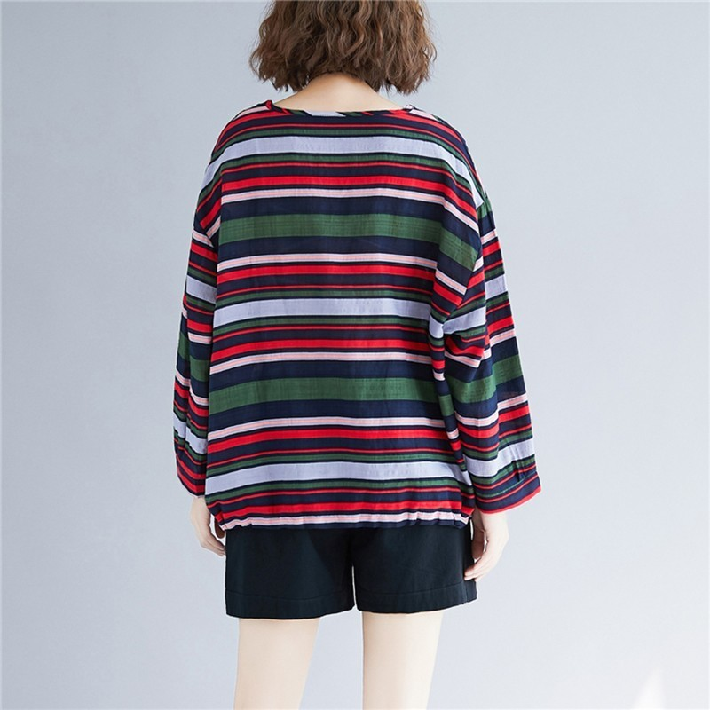Doornot Oversized Striped Woman Tops & Tees V neck Long sleeve Ladies Tshirts Fashion Loose Drawstring Linen Women T-shirt 4