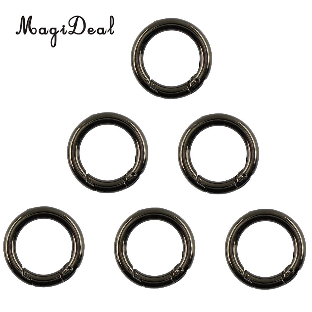 "6pcs 1/"" Circle Round Carabiner Spring Snap Clip Hook Keychain Black"