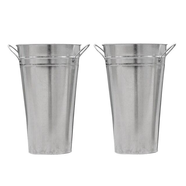 2 Pcs Metal Baldes de Estanho Flor Francês Planta Cestas Vasos Vasos Decorativos para Artesanato Festa no Jardim