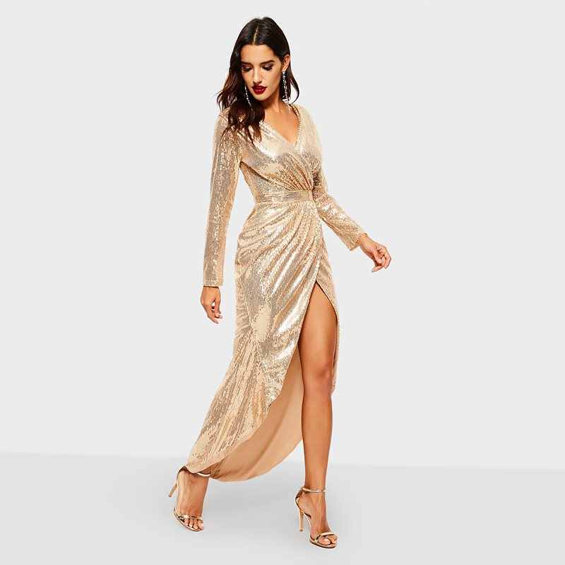 56c48183 ... Golden Reflective Sequins Dress Women Party Sexy Bodycon High Waist  Spring 2019 Elegant Evening Ladies Deep ...