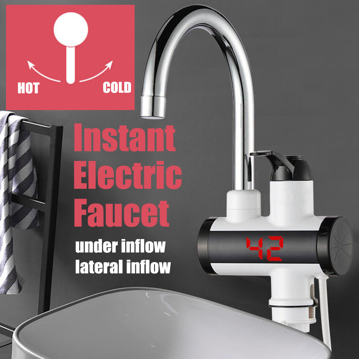 Home Instant Electric Faucet Tap Hot Water Heater 220V 3000W LED Display Bathroom Kitchen Under Inflow/Lateral Inflow IPX4