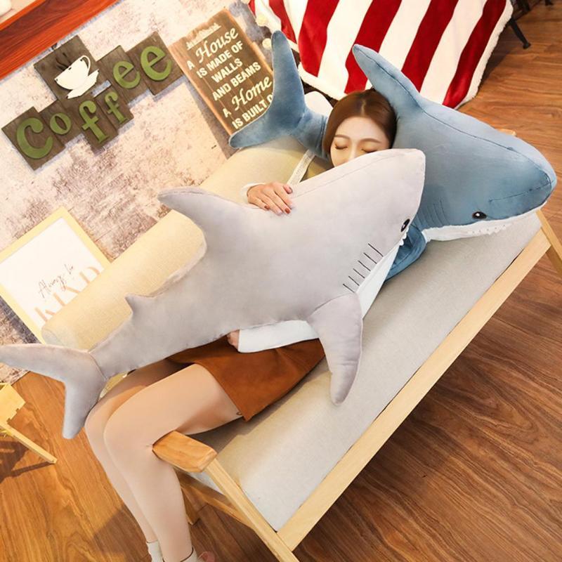 80 cm/100 cm Plush Stuffed Toy Crianças Crianças Dormindo Almofada de Volta Tubarão Meninas Acompanhar Leitura Animais Travesseiro Do Bebê boneca