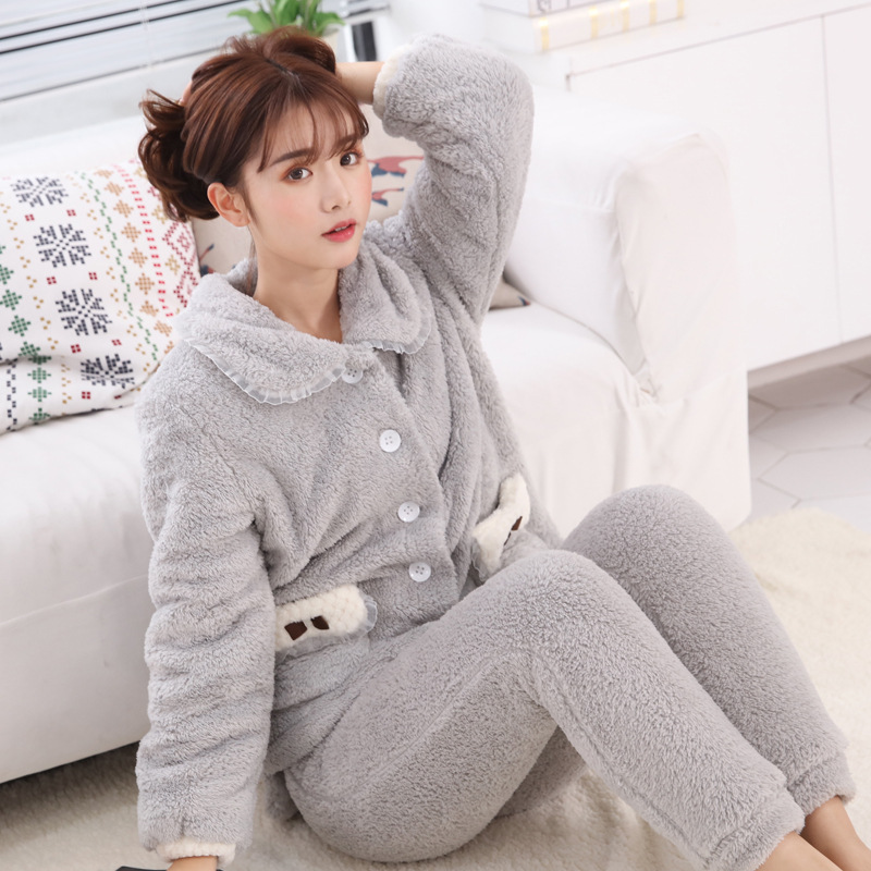 Winter New Double Layer Thickened Coralline Velvet   Pajamas   Long-sleeved Pijama Mujer Christmas   Pajamas   Adult Women   Pajamas     Set
