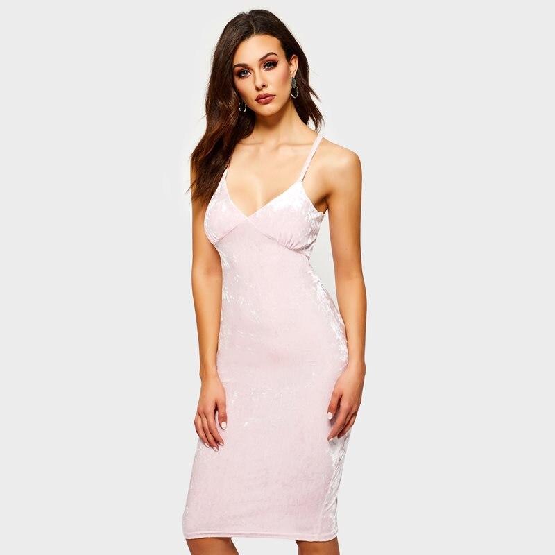 Women Midi Dresses Sexy Elegant Spring Travel Pink Velvet Bodycon High Waist Spaghetti Strap Plain Party Female Fashion Dress