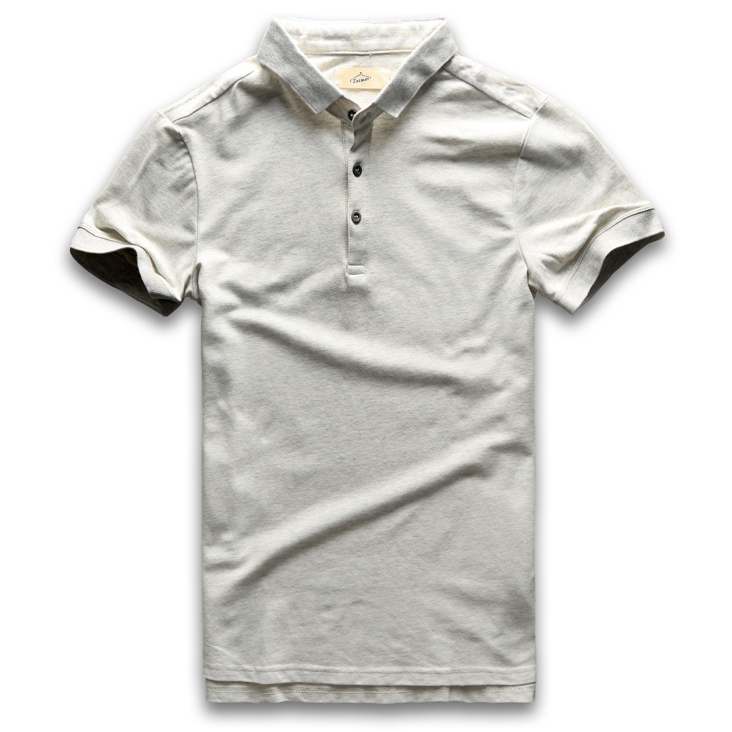 Classic Polo Shirt Men Short Sleeve Polo Shirts Summer Cotton Breathable Turn Down Collar Vintage Grey