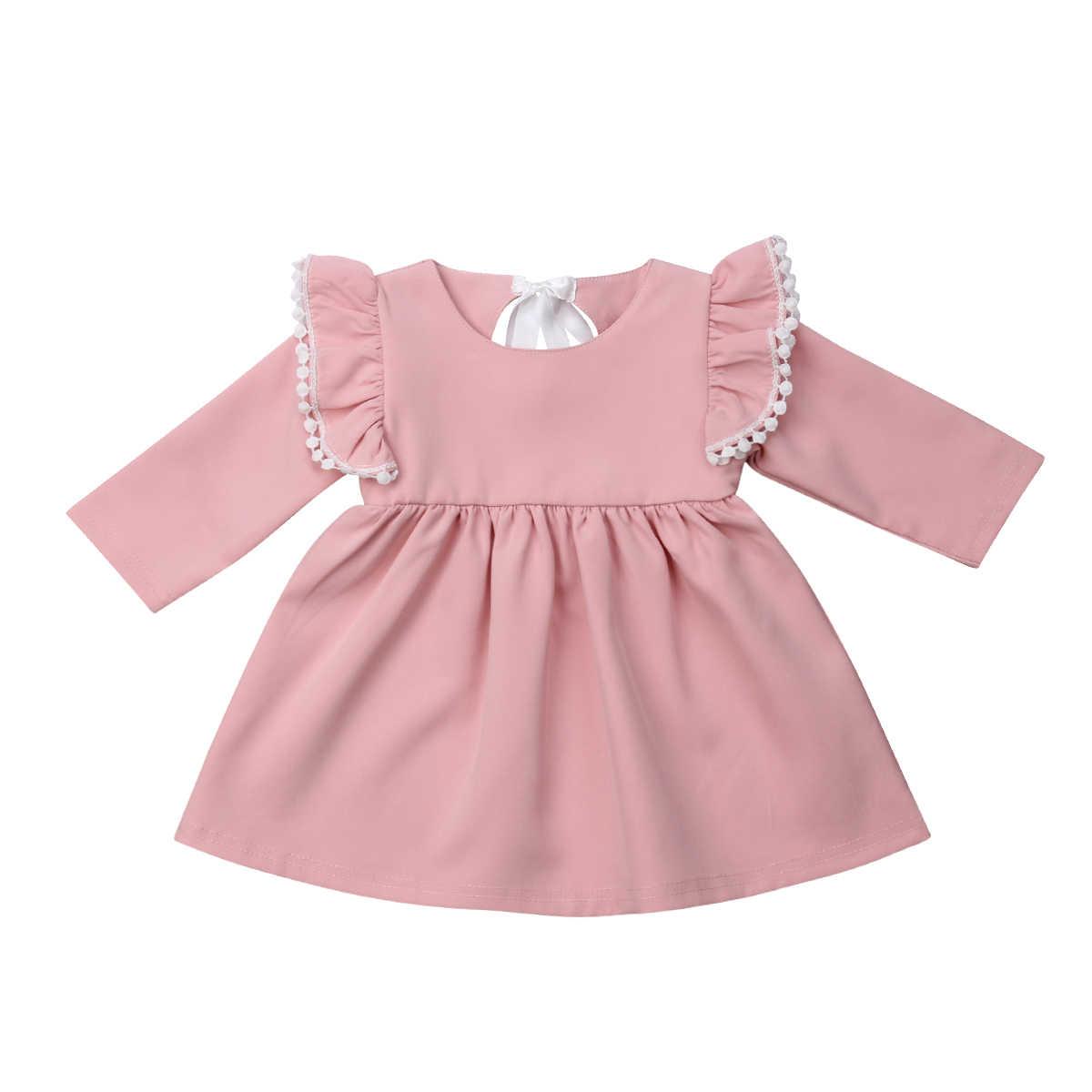7d8df8a5302 Princess Baby Girls Dress Toddler Girls Long Sleeve Lace Bow Tutu Dresses  Party Wedding birthday Dress