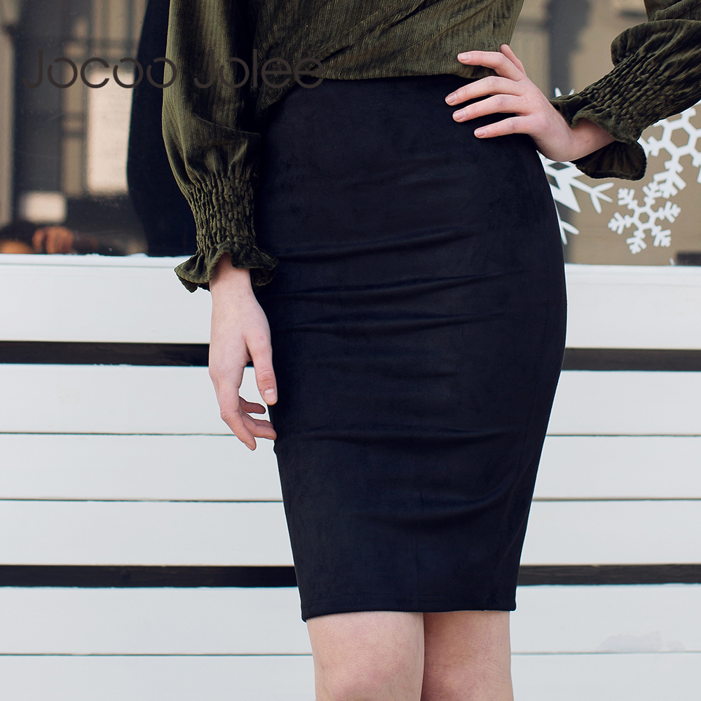 Jocoo Jolee Women Sexy Back Slit Pencil Skirt Office Lady Style Slim Skirt Suede Leater High Waist Short Skirt 2020 Spring New