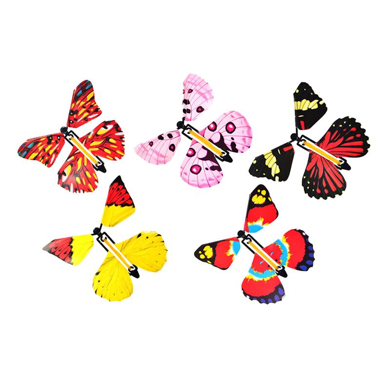 2Pcs Magic Flying Butterfly Wind Up Butterflies Tricky Toys Kid Toy Great Surprise Gift For Kid Random Color
