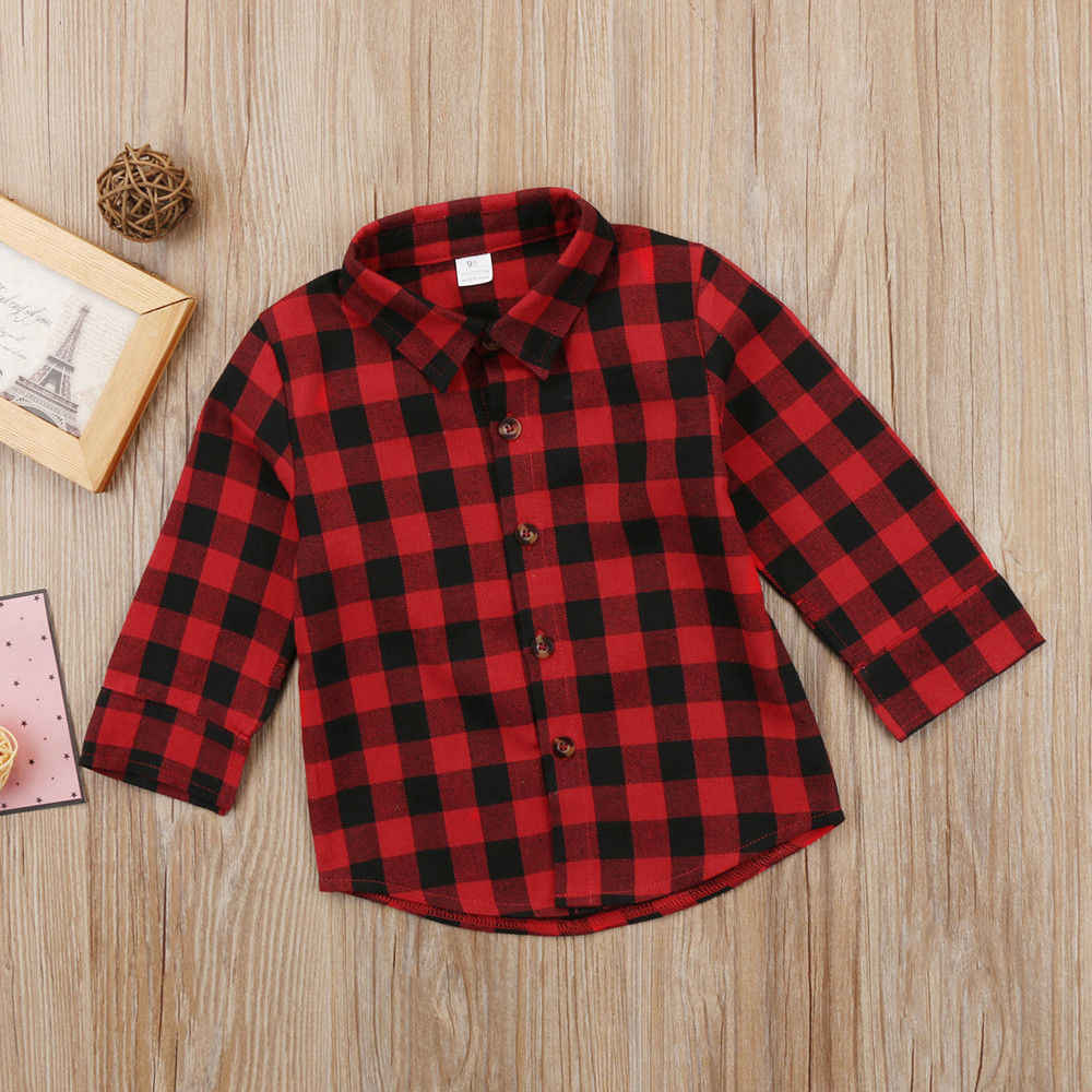 1948b5881 ... Fashion Toddler Kid Baby Boy Girl Letter Plaid Tops Long Sleeve T-shirt  Clothes ...