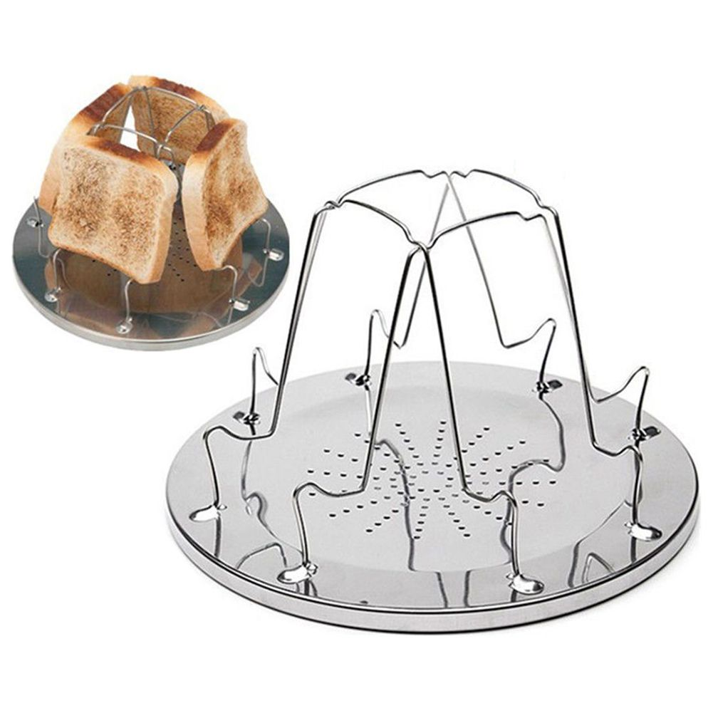 Best 4 Slice Camping Bread Toast Tray Gas Stoves Cooker BBQ Camping Toaster Rack