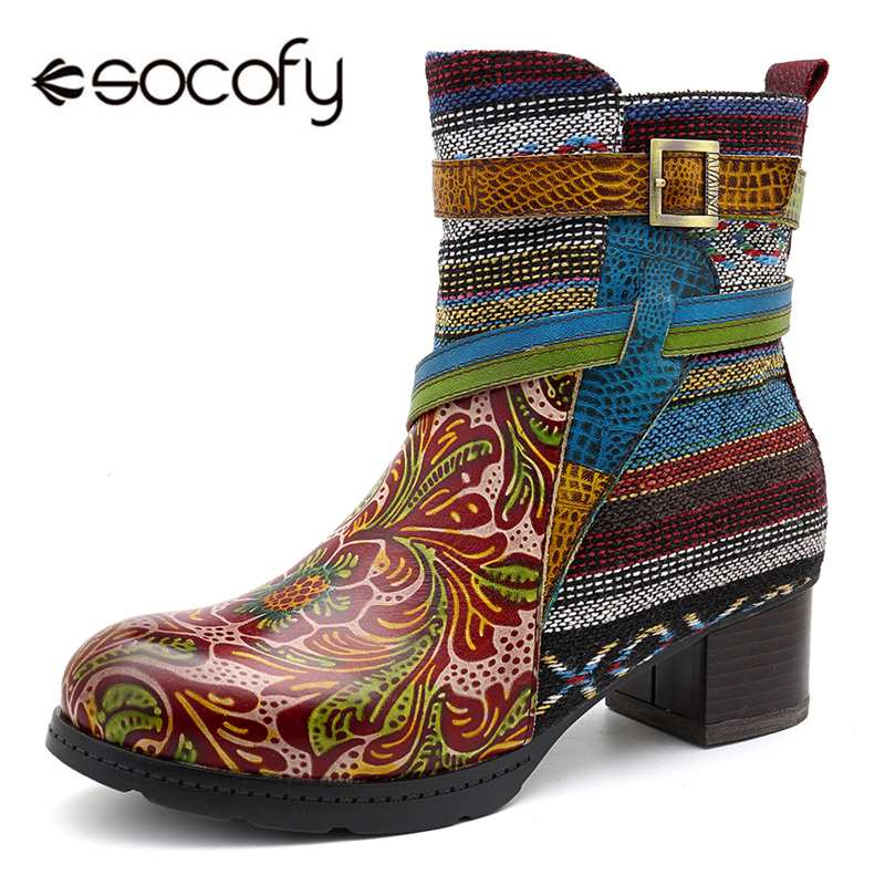 Socofy Bohemian Cow Leather Ankle Boots For Women Shoes Woman Retro Warm Lining Chunky Heel Winter Boots Women Booties Botas NewSocofy Bohemian Cow Leather Ankle Boots For Women Shoes Woman Retro Warm Lining Chunky Heel Winter Boots Women Booties Botas New