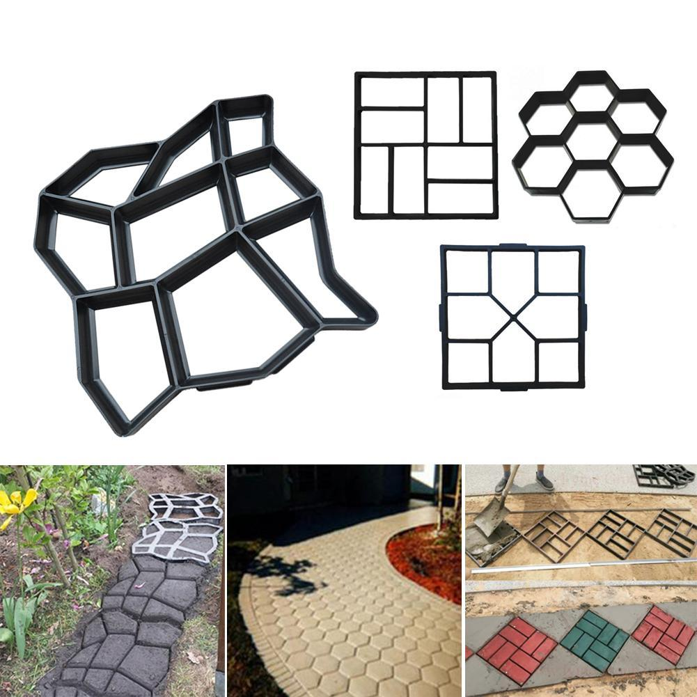 Walkway Moulds Garden Patio Path Molds Rectangle Wood Pattern Brick Stone Road Path Maker DIY Paving Mold