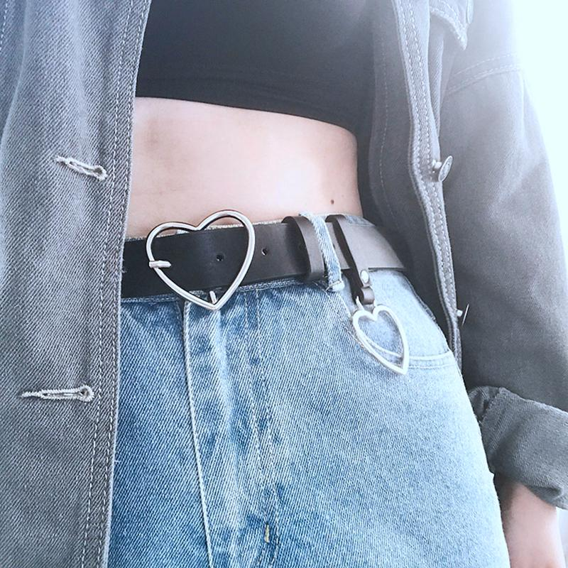 PU Belt With Heart-shaped Alloy Ring Decorative Pin Buckle Belt Versatile For Dress Jackets Jeans