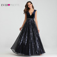 Evening Dresses Long Ever Pretty EP07840 Sexy Deep V neck Beading Sequined Sparkle New Formal Party Gowns 2019 Abendkleider